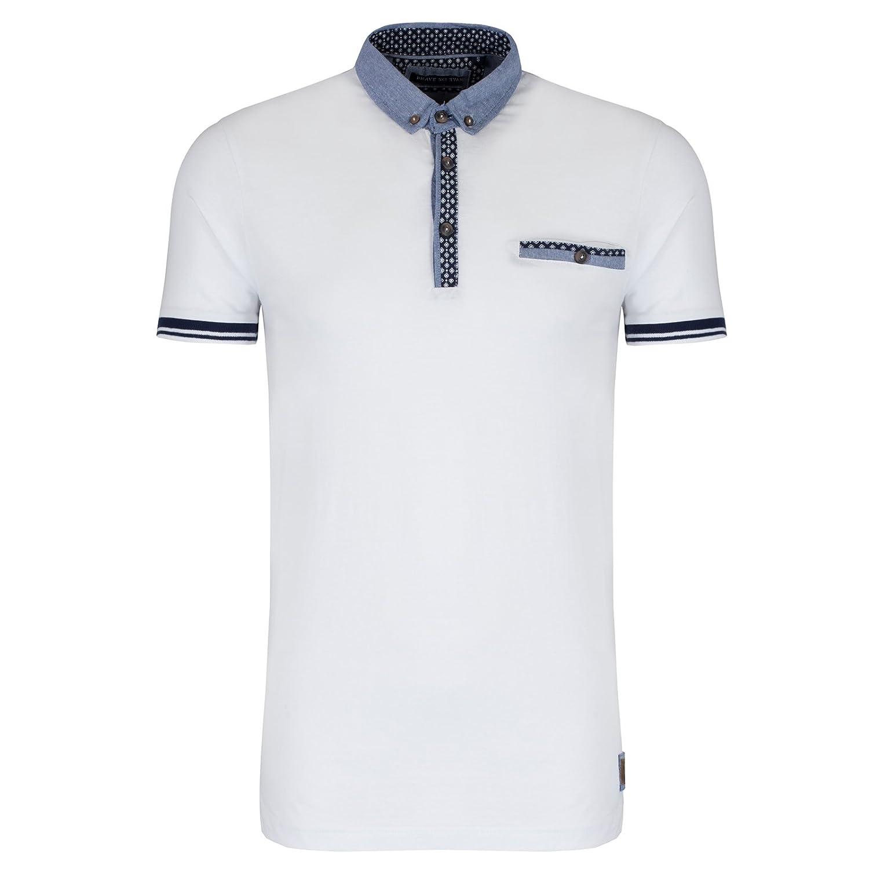 Brave Soul Polo - para Hombre Blanco Blanco Medium: Amazon.es ...