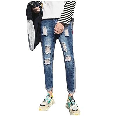 Fensajomon Men Juniors Washed Denim Drawstring Ripped Destroyed Slim Fit Jogger Jeans Pants