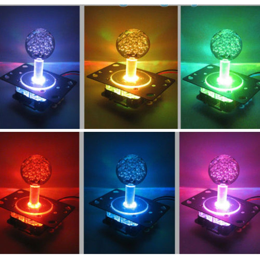 LED Colorful Illuminated Handle Arcade Joystick Switchable from 4 to 8 Way Operation for Arcade Game Walfront