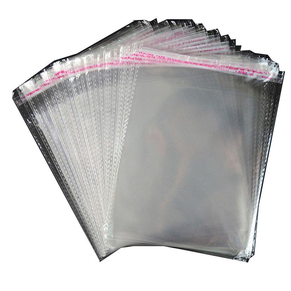 Paquet de 100 sacs en autocollant en cellophane transparent. Forte de 7 fils. Différentes tailles. (150mm x 220mm)