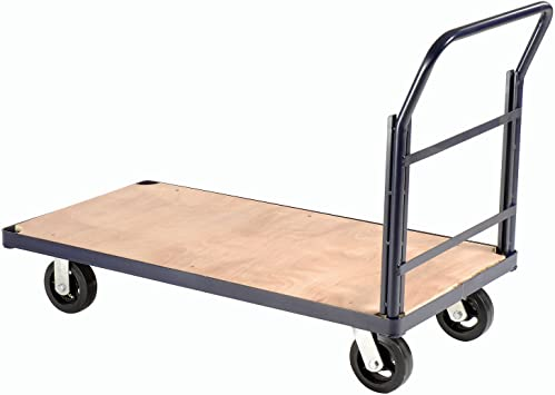 Amazon Com Steel Bound Platform Truck W Wood Deck 60 X 30 8 Rubber Casters 2400 Lb Capacity Office Products