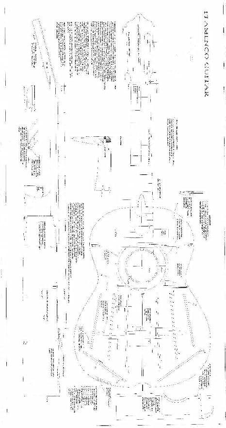 Flamenco Guitarra escala completa Planes, técnica diseño dibujos, tamaño real