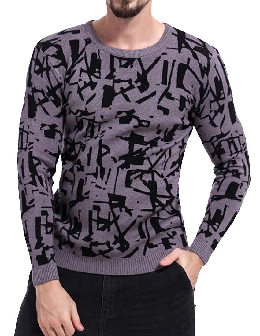 Suncolor8 Mens Knitted Casual Slim Crew Neck Printed Long Sleeve Pullover Sweater