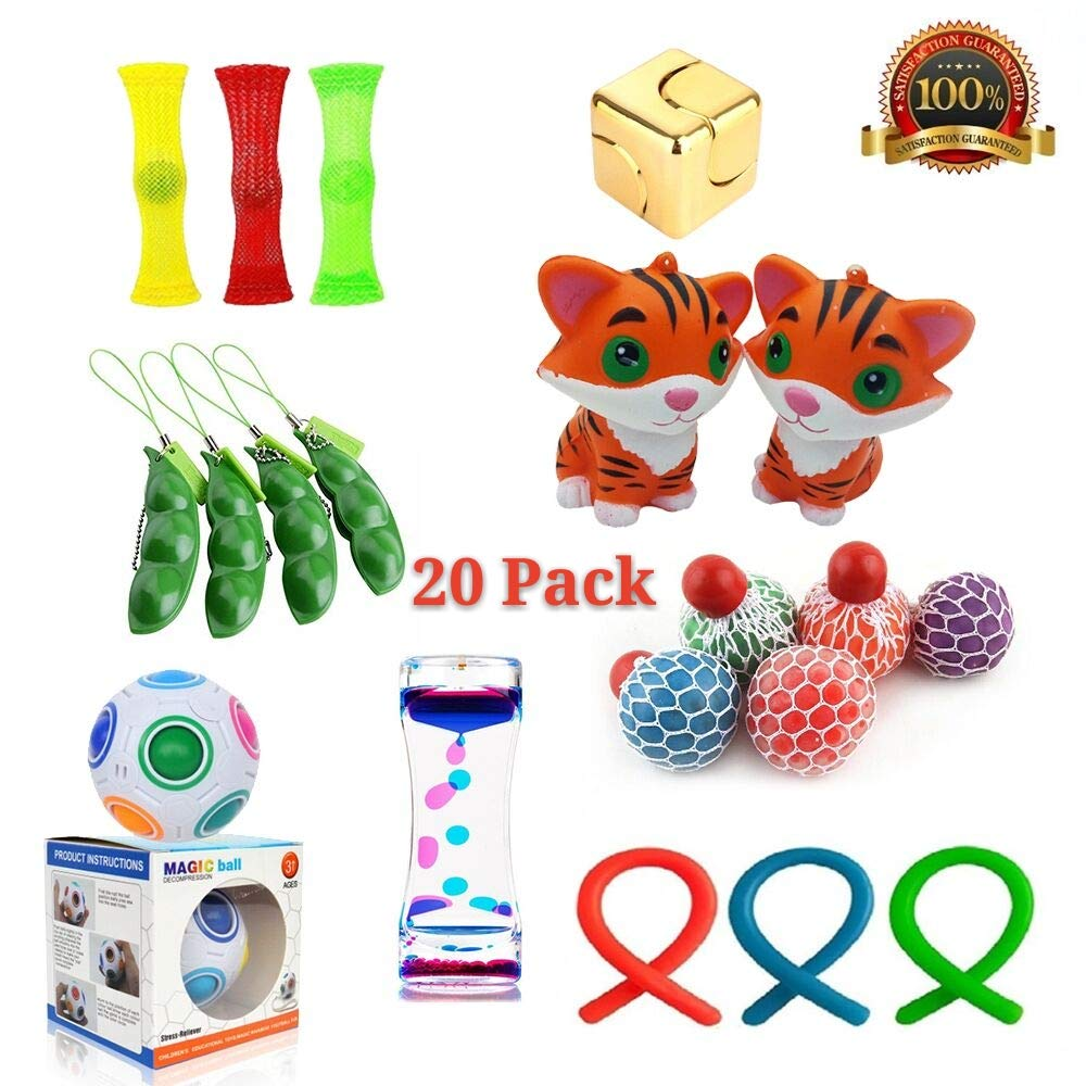 20 Pack Bundle Sensory Toys Set-Rainbow Magic Ball/Liquid Motion Timer/Fidget Spinner/Soybeans Squeeze Grape Ball/Mesh And Marble Toy/mochi squishy Toys,Stress Relief Toys for Adults,Kids and Students