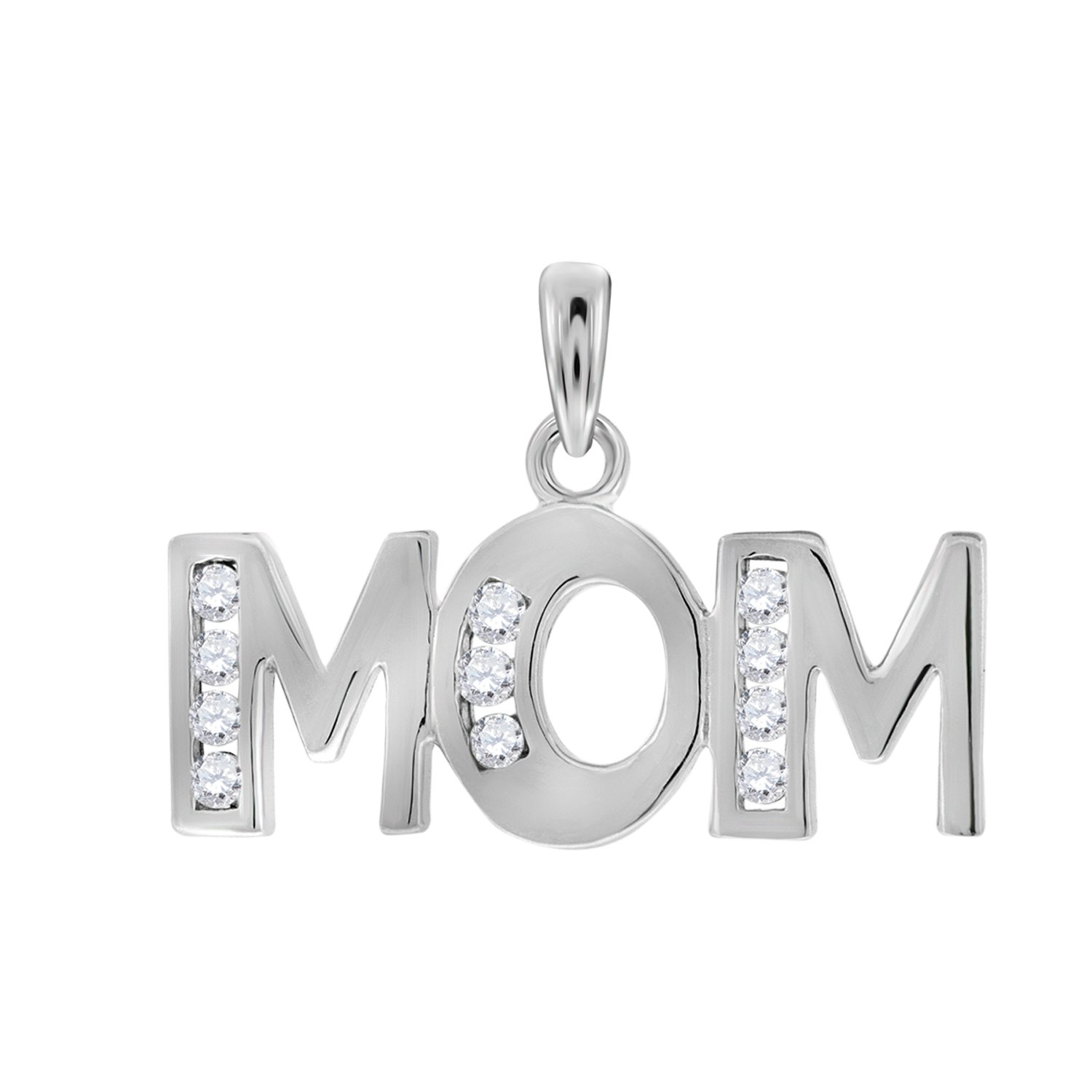 Jewels By Lux 925 Sterling Silver Womens Round CZ Mom Charm Pendant