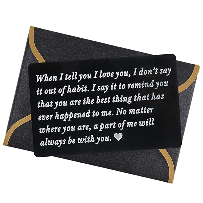 Engraved Wallet Card,Personalized Wallet Card for Mens Wallet Insert, Love Note Inserts Deployment