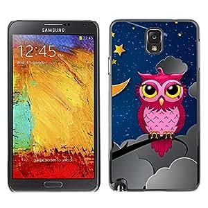 Be Good Phone Accessory // Dura Cáscara cubierta Protectora Caso Carcasa Funda de Protección para Samsung Note 3 N9000 N9002 N9005 // Pink Owl In Night