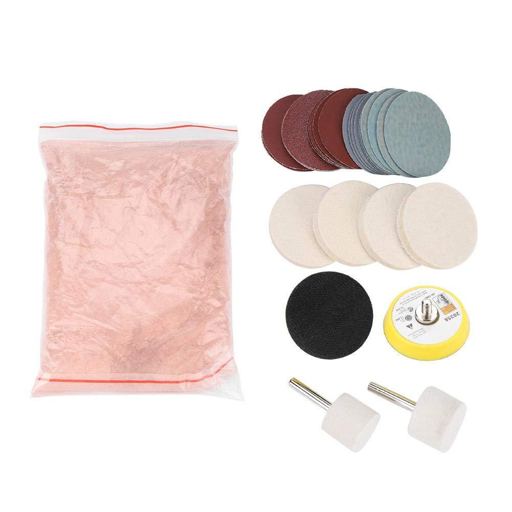 HEEPDD Glass Polishing Kit, Scratch Removal Set with Felt Polishing Wheel Polishing Disc Wool Polishing Pad and Abrasive Disc for SUV Car Windshield Front Rear Window