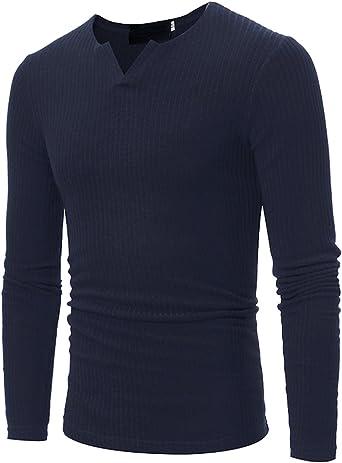 JOLIME Suéter Básico con Cuello Pico Jersey Camiseta Interior Térmica de Manga Larga Hombre
