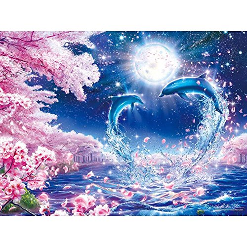 Onefa 5D Diamond Painting Kits for Adults Dolphin Drill, DIY Cross Stitch Crystal Mosaic Picture Artwork for Home Wall Decor Gift (Gold Diamond Dolphin)