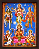 India Goddess Maa Laxmi with Other Indian God Like Shiva, Ganesha, Vishnu, Narad. A Indian Hindu Religious Poster Painting with Frame