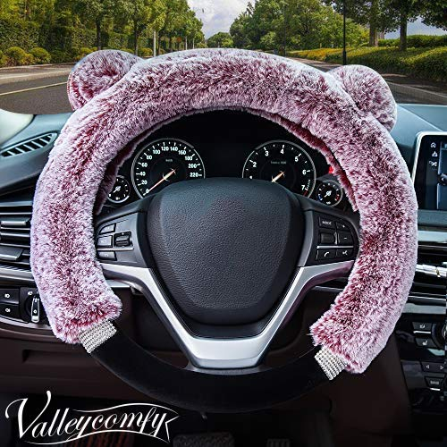 aux Wool and Bling Diamond Fluffy Fashion Steering Wheel Covers for Women/Girls/Ladies 15 Inch,Pink ()