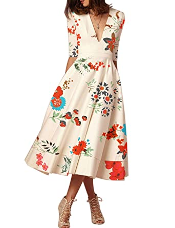 b3703595d1e FASHIONMIA Women s Floral Dress with Pockets 3 4 Sleeve V Neck Pleated Maxi  Dress Peach