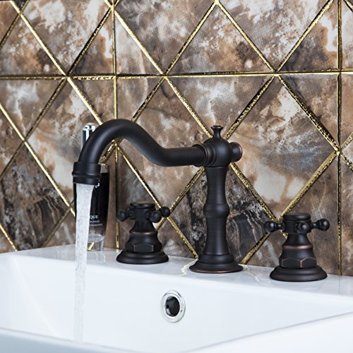Yanksmart Traditional Two Handles Widespread Bathroom Sink Mixer Tap 3 Holes Basin Faucet Oil Rubbed Bronze Ys97116 - Minispread Bathroom Faucet Finish