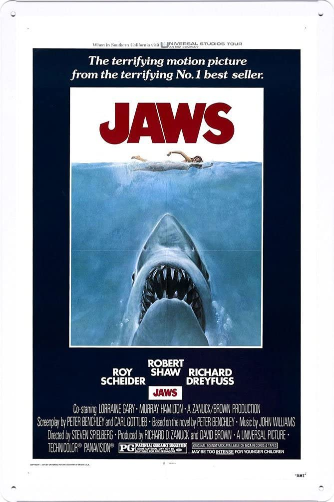 CCparton Jaws Movie Poster Home Theater Decor Metal Tin Sign