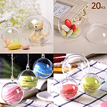 Kranich 20Pcs Fillable Ball Clear Plastic Christmas Ornaments Balls 3.94''/100mm for Holiday Wedding Party Home Decor