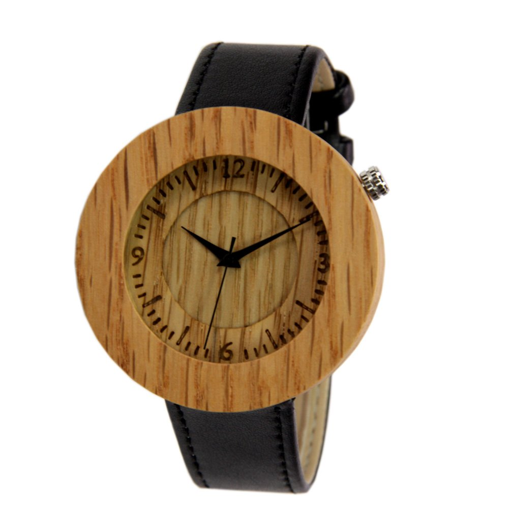 Mens Wood Watch with Black Leather Strap Gift Watch to Him