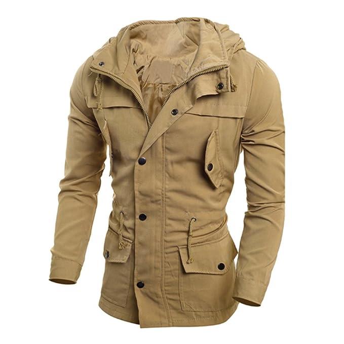 YanHoo Chaqueta Hombre Invierno Chaqueta de Talla Grande para Hombre Los Hombres de Moda Chaqueta Informal Abrigo Delgado Outwear Abrigo Negro A Prueba de ...