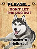 Siberian Husky - Don't Let The Dog Out... 9X12 Realistic Pet Image New Aluminum Metal Outdoor Dog Pet Sign. Will Not Rust!