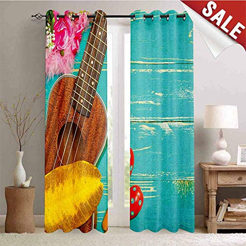 Flyerer Music, Blackout Window Curtain, Ukulele with Hawaii Style Background Wooden Classical Vacation Stylized, Customized Curtains, W72 x L108 Inch Aqua Yellow Red Brown ()