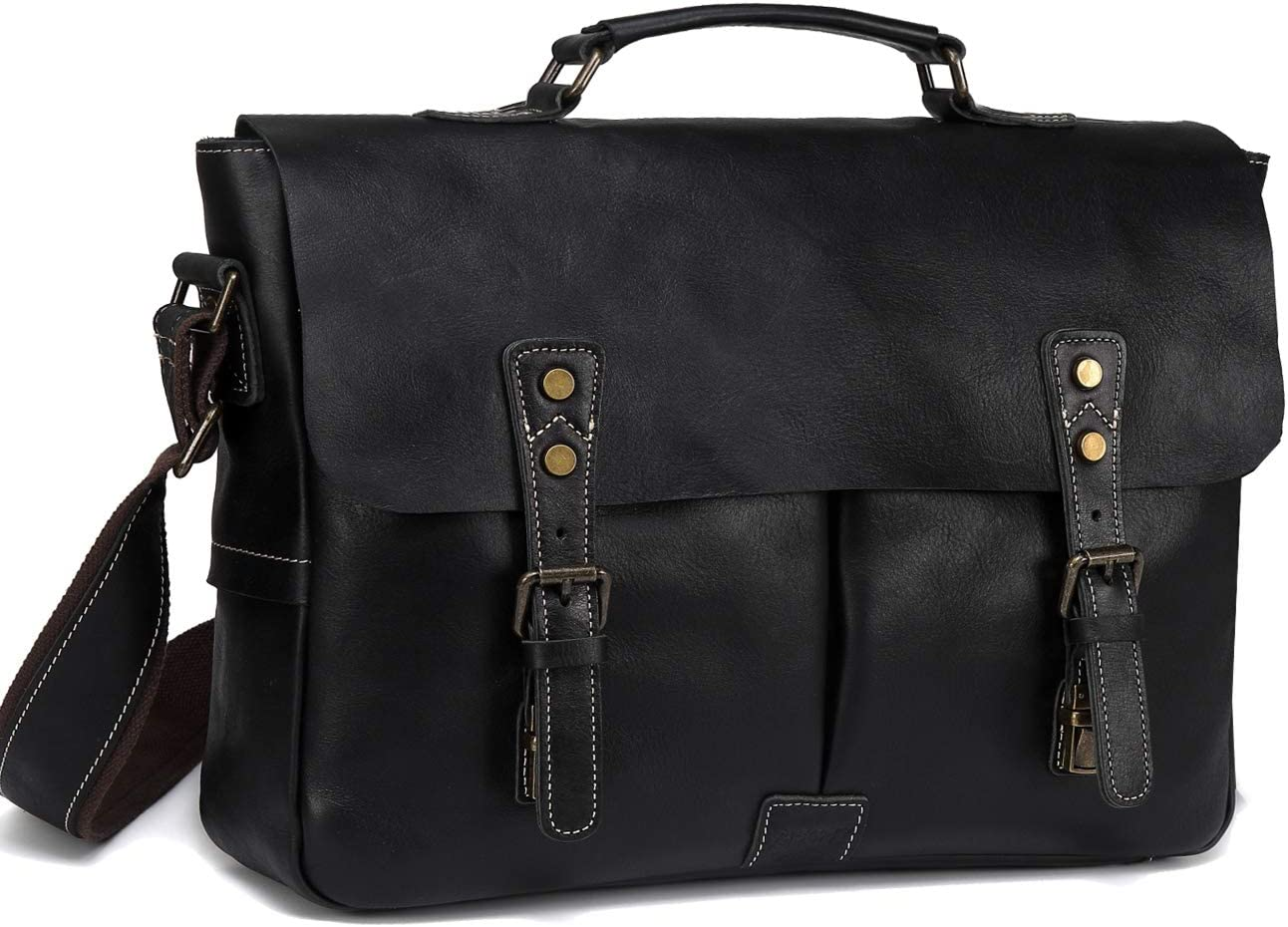 Leather Messenger Bag for Men, VASCHY Handmade Full Cowhide Leather Vintage Satchel 15.6 inch Laptop Business Briefcase Travel Shoulder Bag Black
