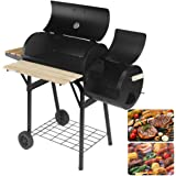 """Artist Hand 47"""" Portable Charcoal Grill with Offset Smoker, Piato Backyard Charcoal BBQ GrillWith Side Fire Box. Equipped with Convenient shelf and Hinged Lid."""
