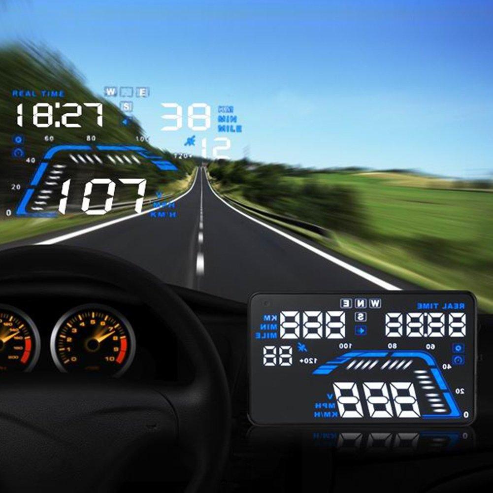 Universal 5.5 Car HUD Head Up Display OBD2 Interfaz Parabrisas Proyector Sistema Tiempo//Direcci/ón//Sobrevelocidad Aviso