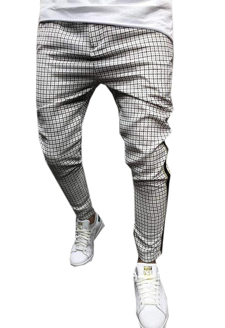 WAWAYA Men Sports Pants Checkered Slim Stitching Jogger Pants Sweatpants Trousers