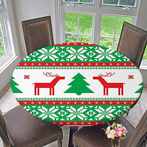 """Mikihome Modern Simple Round Tablecloth Collection Knit Style Graphic Reindeer Star Snowflake Holiday Season Family Red Green White Decoration Washable 40""""-43.5"""" Round (Elastic Edge)"""