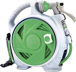 Hunting Friends Retractable Garden Hose Reel, 45+5 FT Portable Simple Home Hose Reel with 7 Adjustable Patterns Spray Nozzle&Standard Connector, Hose Reel for Garden Watering, Car Washing, Pet (Green)