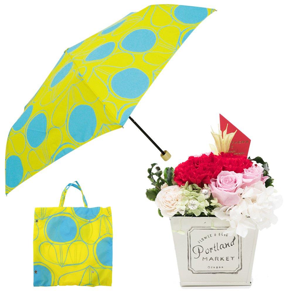 母の日ギフト プリザーブドフラワーと折り畳み傘のギフトセット B07CJ8Q354 お花:赤/Mサイズ|レシオ レシオ お花:赤/Mサイズ