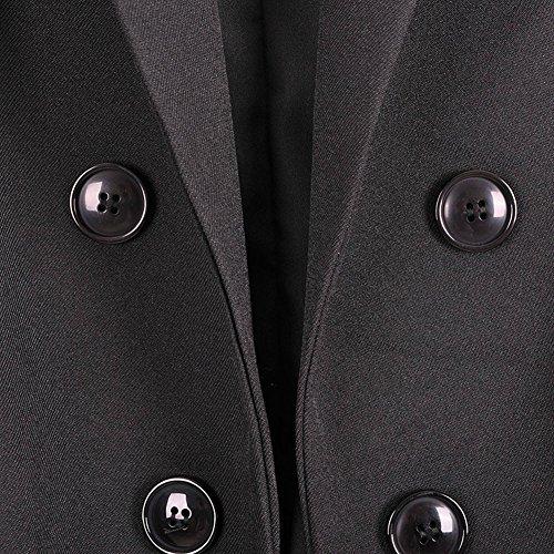Manches Sans Blouse Boutonnage Revers Femme Tops Double Longue Gilet Casual IxqwwRYZX