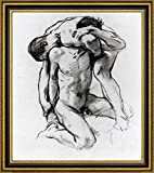 """Male Nudes Wrestling by John Singer Sargent - 15"""" x 15"""" Framed Canvas Art Print - Ready to Hang"""