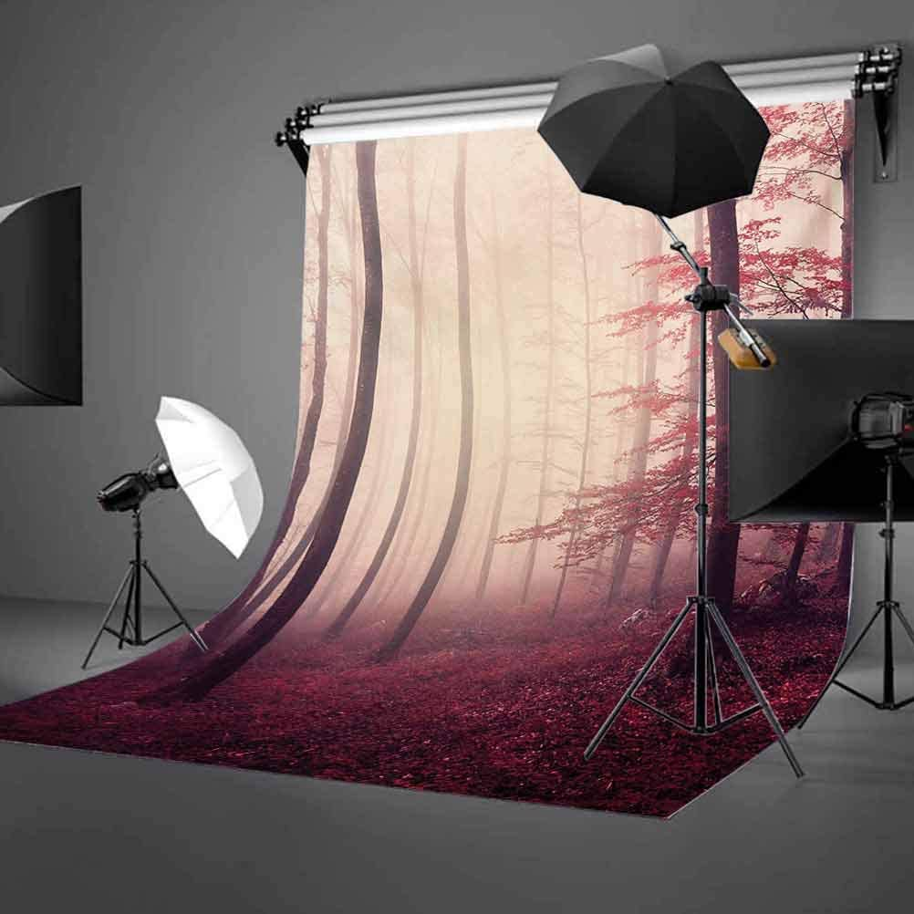 10x12 FT Backdrop Photographers,Fantasy Marsala Color Foggy Forest Jungle Dreamy Wilderness Woods Sunlight Image Background for Photography Kids Adult Photo Booth Video Shoot Vinyl Studio Props