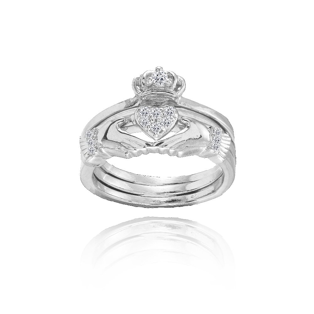 Sterling Silver Claddagh Stackable Ring Set, Size 6