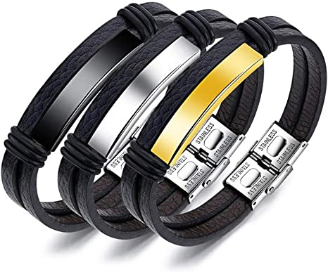 Hand-Woven Wrap Multilayer Leather Braided Rope Wristband Men Magnetic Buckle