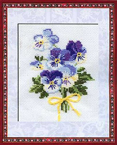 "RIOLIS Violas Counted Cross Stitch Kit, 5"" by 6.25"""