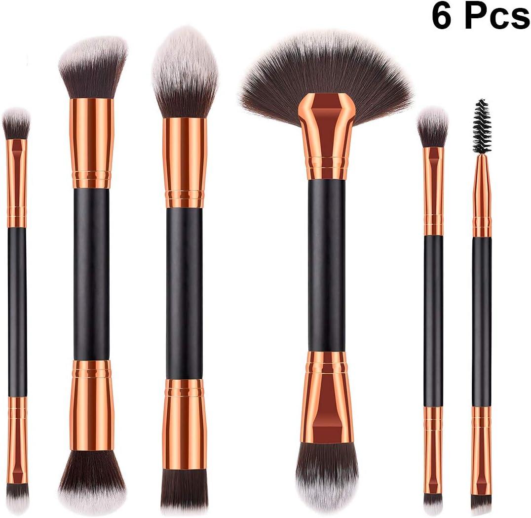 6pcs manija de madera de cerdas de nylon suave cepillo de maquillaje de doble acabado cosméticos cabeza en polvo se ruborizan Kit de cepillo para mujer damas (T-06-015)