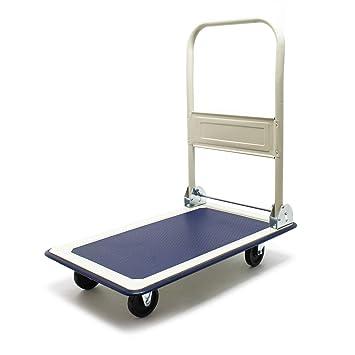 WilTec Carrito Plataforma 150kg Transporte Manual Plegable Carretilla Plataforma Carga Almacén Taller Casa: Amazon.es: Coche y moto