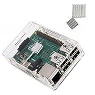 KuGi Raspberry Pi 3 Model B case PC Protective Case with 2x Heatsinks for Raspberry Pi 3 Model B+ ,Raspberry Pi 3 Model B, Pi 2 Model B & Pi Model B+ (Clear)