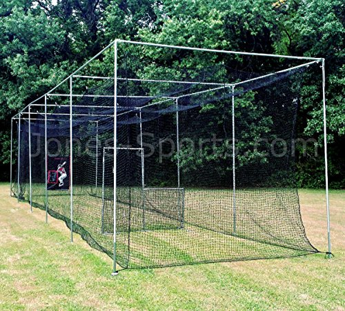 JONES-SPORTS 42PLY MEDIUM DUTY #24 BATTING CAGE WITH FRAME KIT FOR BASEBALL, SOFTBALL, BACKYARD SPORTS (10 X 12 X 50) by Jones Sports