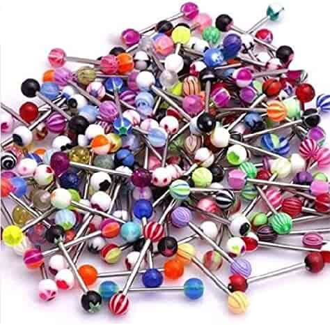 CrazyPiercing Wholesale 14g Tongue Rings Barbells Assorted Colors (110 PCS Acrylic Ball)