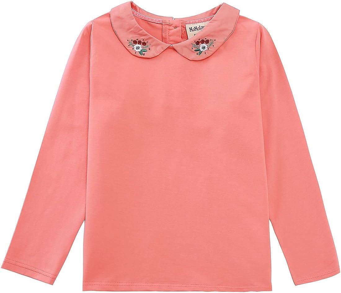 MOMOLAND Toddler Little Girls Long Sleeve Blouses Tops Peter Pan Collar T Shirt