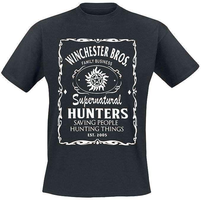 Supernatural Logo Winchester Bros T Shirt Manches Courtes Noir