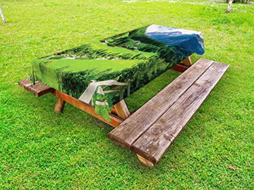 Ambesonne Mountain Outdoor Tablecloth, Alpine Landscape with Meadow Cottages and Pines Stream in Village View Print, Decorative Washable Picnic Table Cloth, 58 X 120 Inches, Green White