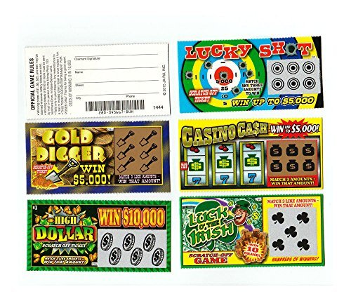 5 PHONY FAKE ALL WINNING SCRATCH OFF LOTTERY TICKETS -JOKE- PRANK- GAG (Tickets Gag)