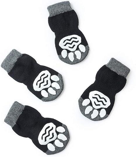 Protectores para Patas para Uso en Interior y Control de Tracci/ón con Refuerzo de Goma Akopawon 4 Piezas Calcetines Antideslizantes para Perros y Gatos Talla S a 3XL para Animales de 1 a 22,5 kg