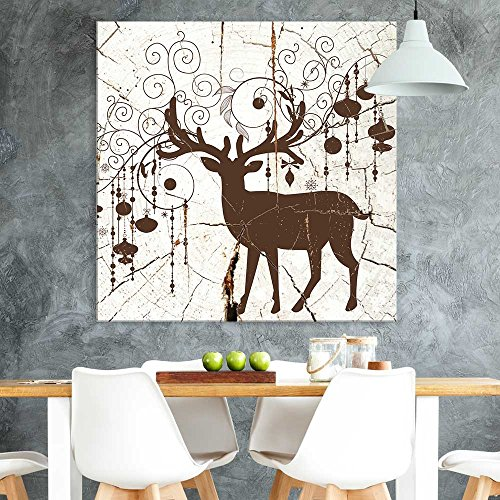 Square Decorative Deer Wood Effect