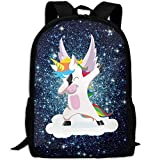 MKKR2 Funny Unicorn Dab Unicorn Dabbing Hip Hop Pose 3D Adult Outdoor Leisure Sports Backpack And School Backpack