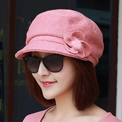 YXLMZ Señoras Mujeres Sombreros Boina caída de Placer Dome Cap Cap Moda  Rosa Flores. c4b31b9a930